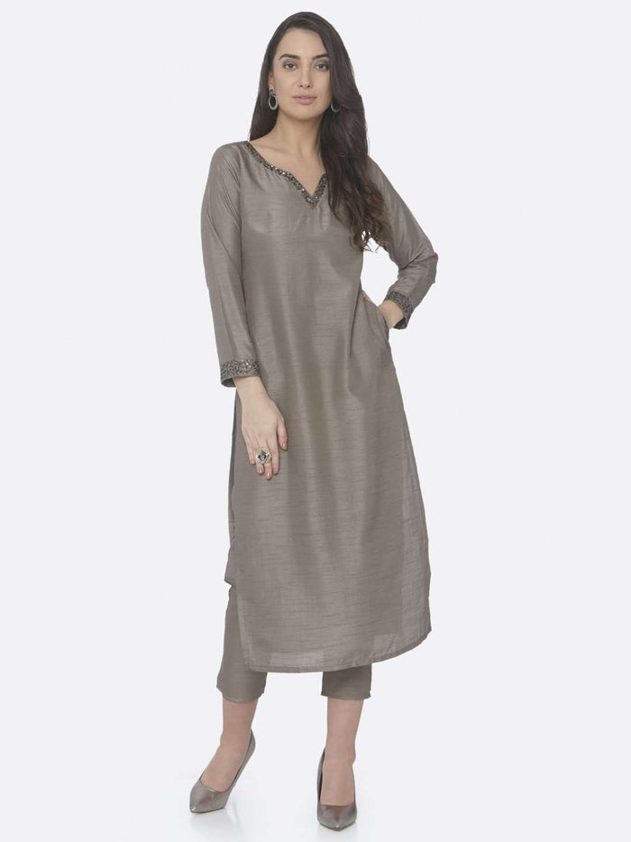 Casual Grey Embellished Silk Straight Kurta Set With Grey Palazzo Pant