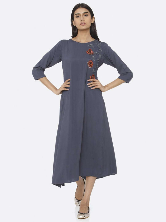 Blue Embellished Viscose Rayon A-Line Dress