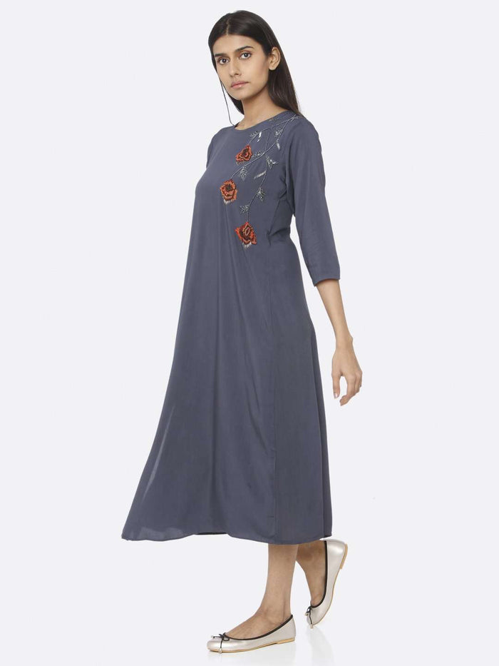 Left Side Blue Embellished Viscose Rayon A-Line Dress