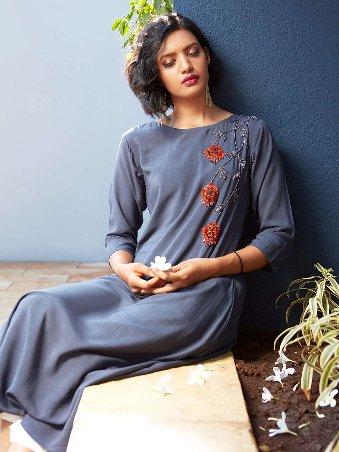 Front Side Blue Embellished Viscose Rayon A-Line Dress