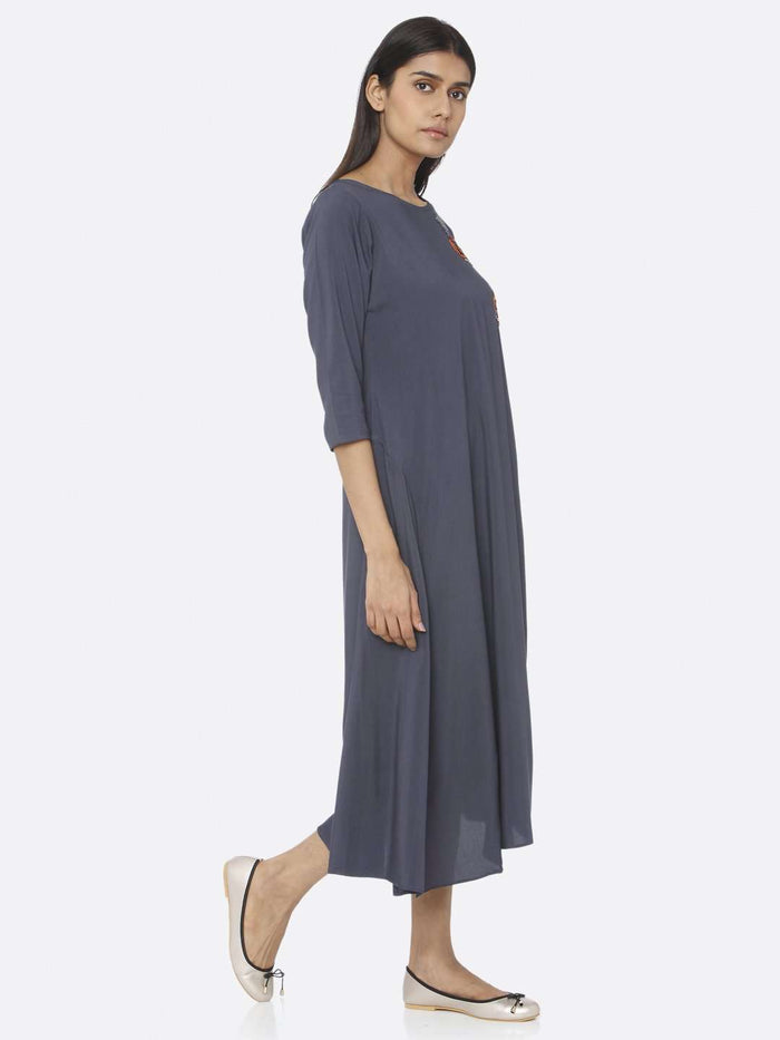 Right Side Blue Embellished Viscose Rayon A-Line Dress