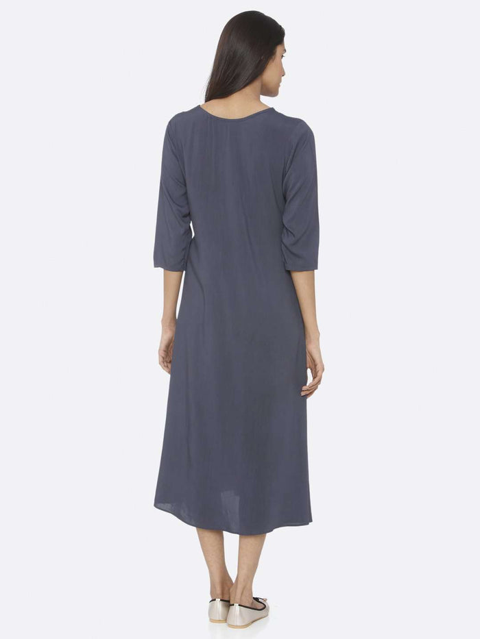 Back Side Blue Embellished Viscose Rayon A-Line Dress