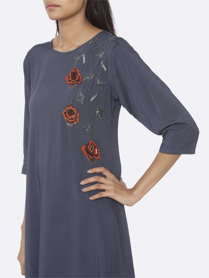 Left Side Embellished Viscose Rayon A-Line Dress With Blue Color