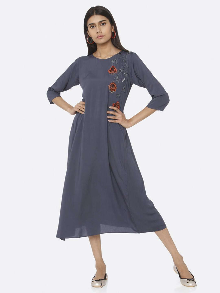 Casual Blue Embellished Viscose Rayon A-Line Dress