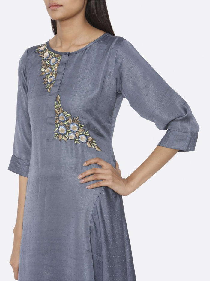 Left Side Embroidered A-Line Dress With Blue Color