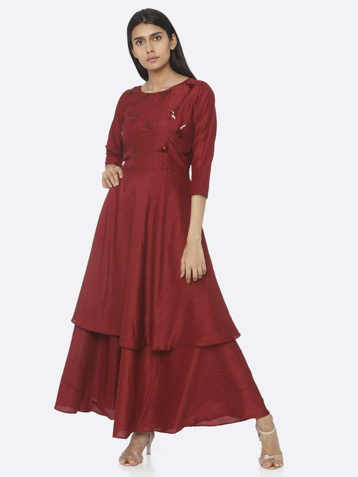Casual Maroon Embellished Silk A-Line Maxi Dress