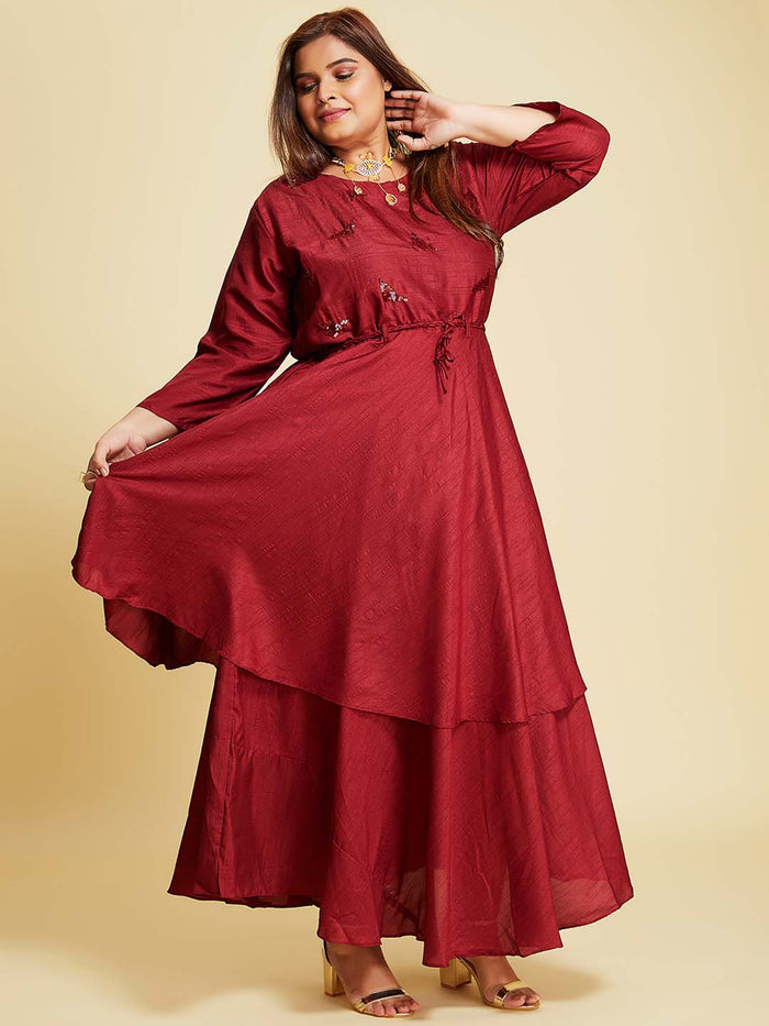 Maroon Embellished Silk A-Line Maxi Dress Plus Size
