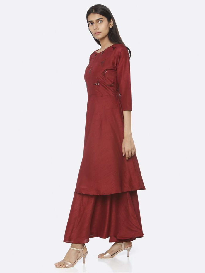 Left Side Embellished Silk A-Line Maxi Dress With Maroon Color