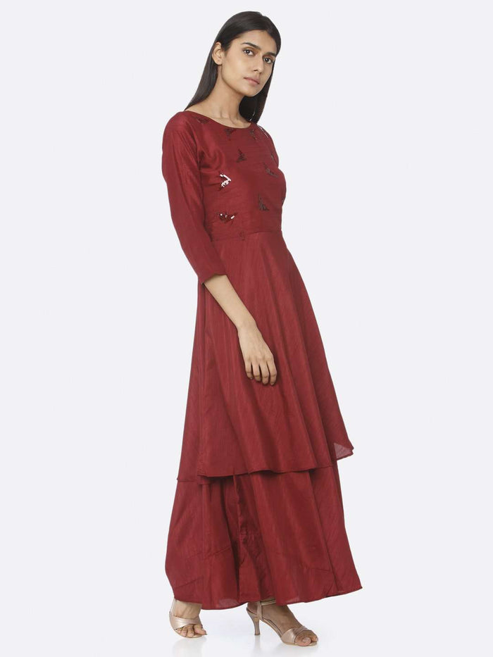 Right Maroon Embellished Silk A-Line Maxi Dress