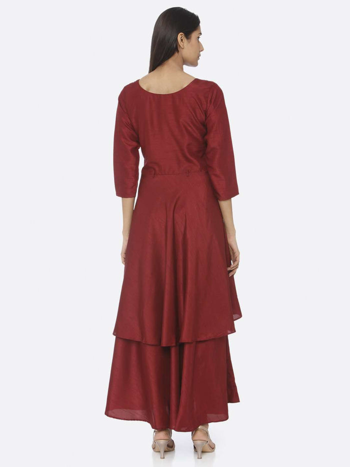 Back Side Maroon Embellished Silk A-Line Maxi Dress