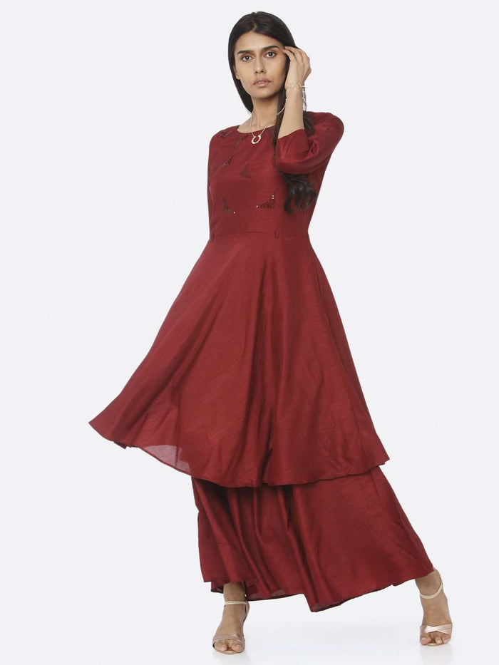 Maroon Embellished Silk A-Line Maxi Dress