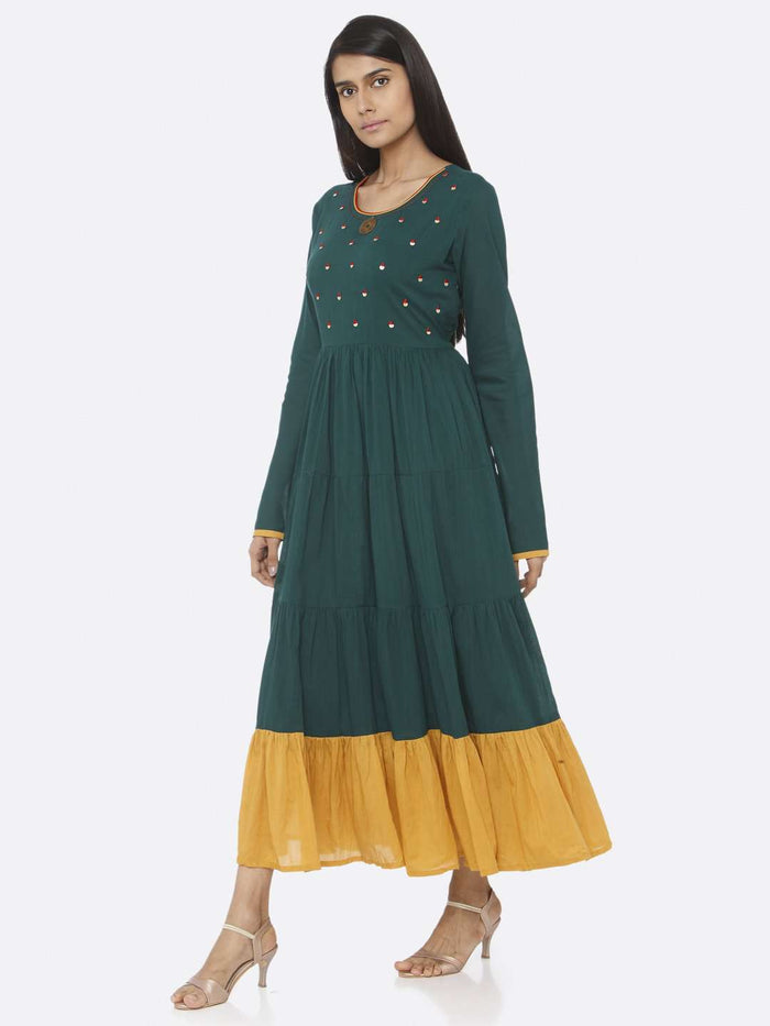 Left Side Green Embellished Cotton A-Line Maxi Dress