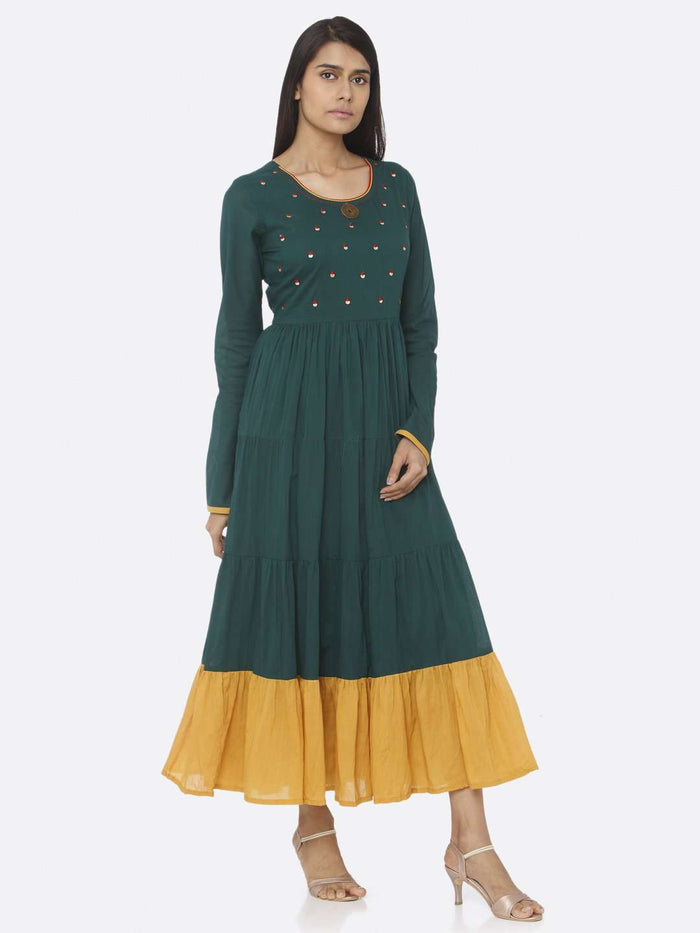 Right Side Green Embellished Cotton A-Line Maxi Dress