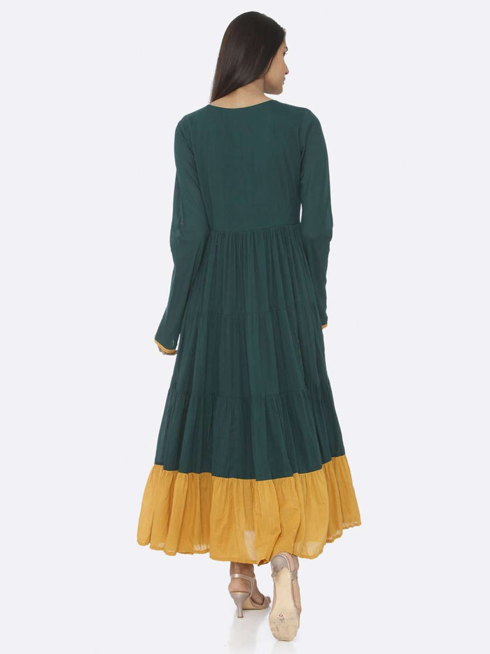 Back Side Green Embellished Cotton A-Line Maxi Dress