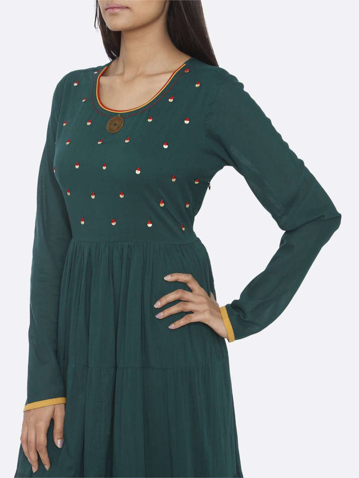 Left Side Embellished Cotton A-Line Maxi Dress With Green Color