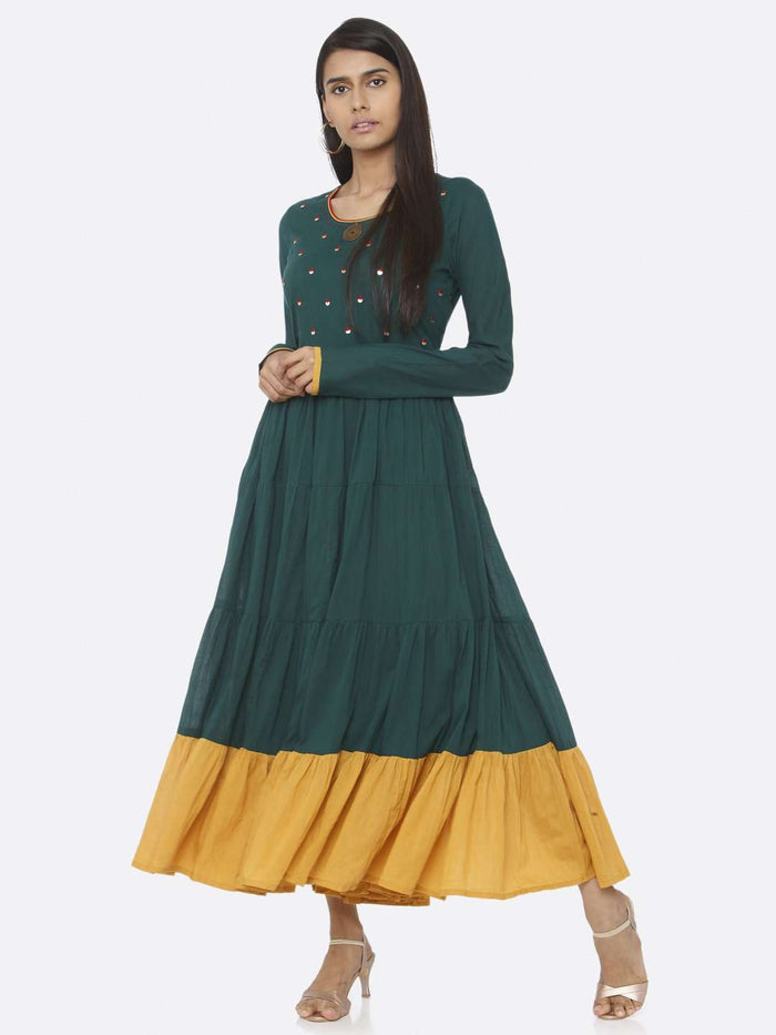 Casual Wear Green Embellished Cotton A-Line Maxi Dress