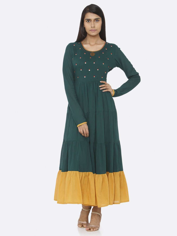 Front Side Green Embellished Cotton A-Line Maxi Dress