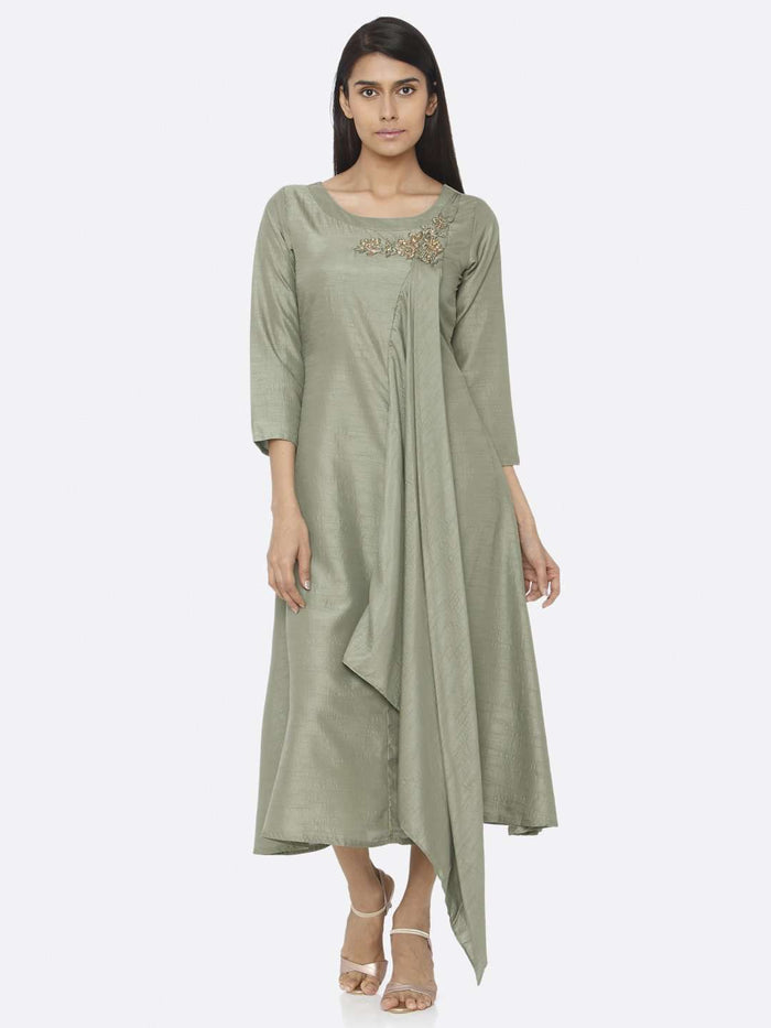 Casual Green Embellished Silk A-Line Dress