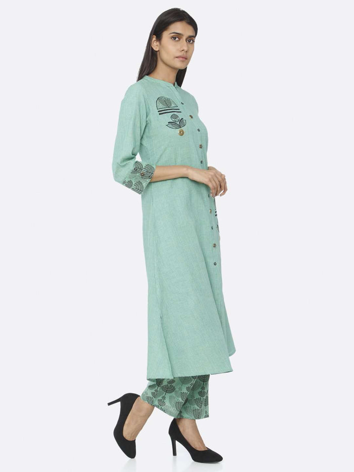 Right Side Embroidered Cotton A-Line Kurta Set With Green Color