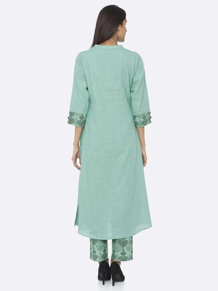 Back Side Green Embroidered Cotton A-Line Kurta Set