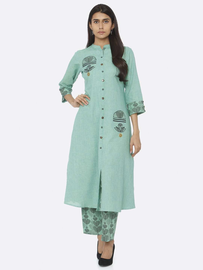 Casual Embroidered Cotton A-Line Kurta Set With Green Color