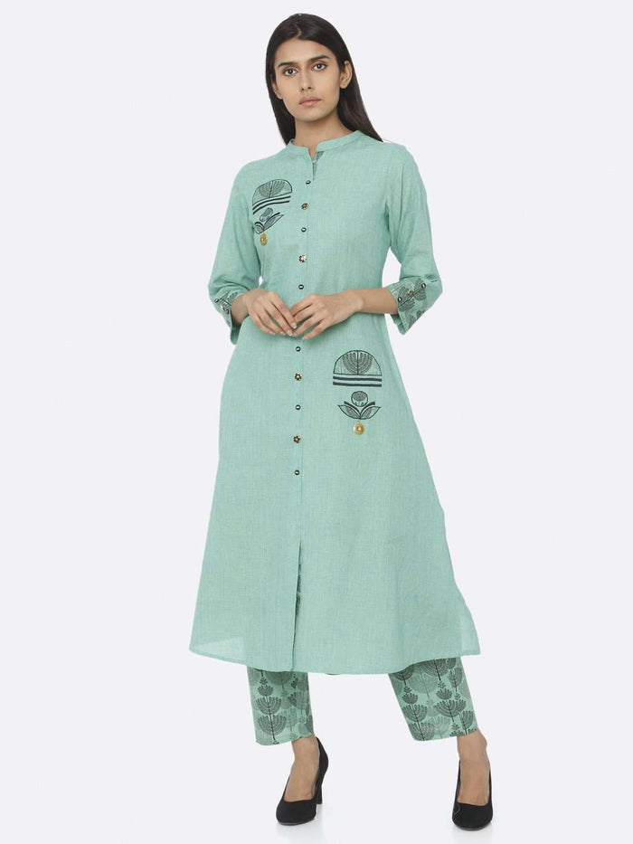 Front Side Embroidered Cotton A-Line Kurta Set With Green Color
