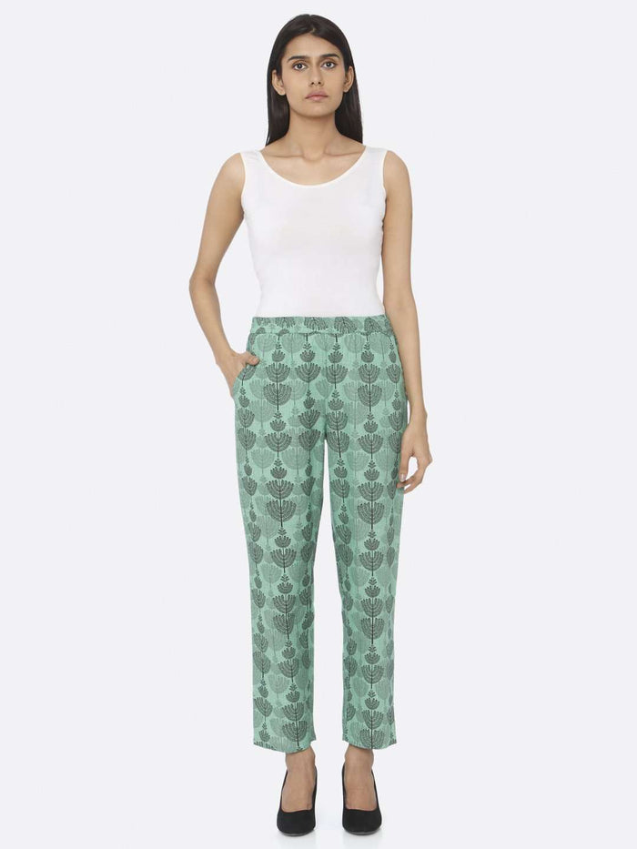 Front Side Embroidered Khadi A-Line Pant