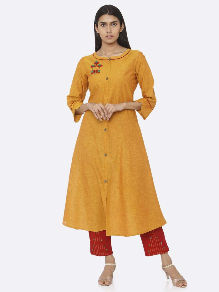Mustard Embroidered Cotton A-Line Kurta Set