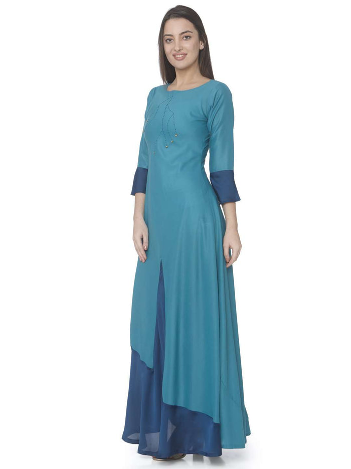 Left Side Sky Blue Solid Satin A-Line Maxi Dress