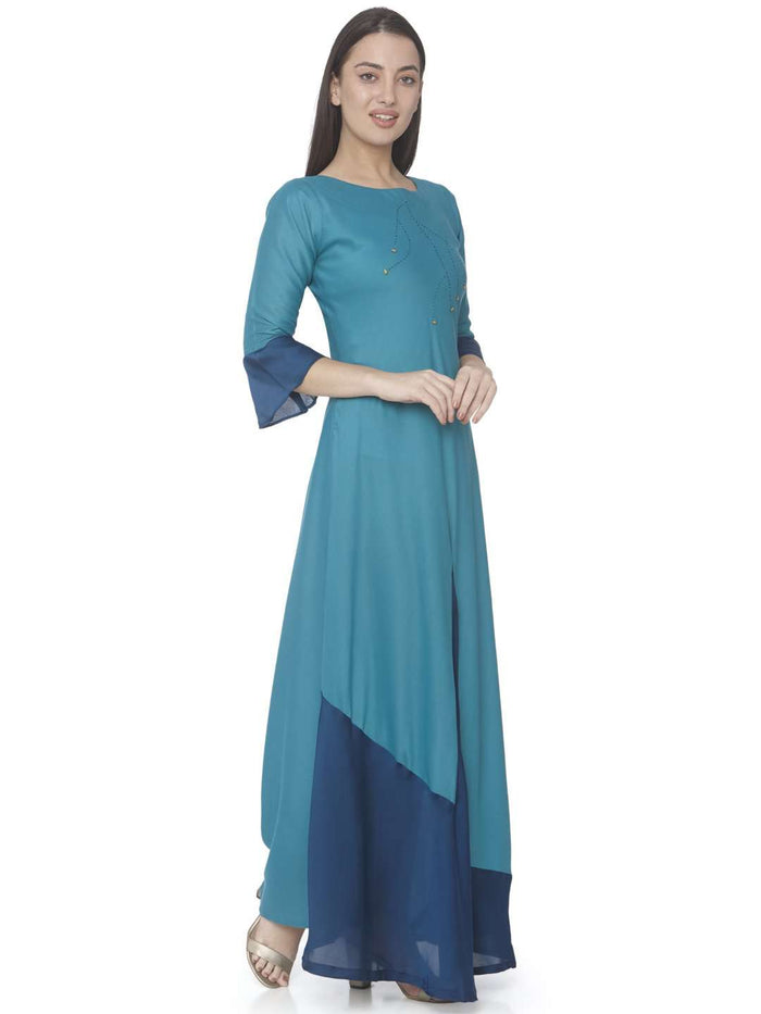 Right Side Sky Blue Solid Satin A-Line Maxi Dress