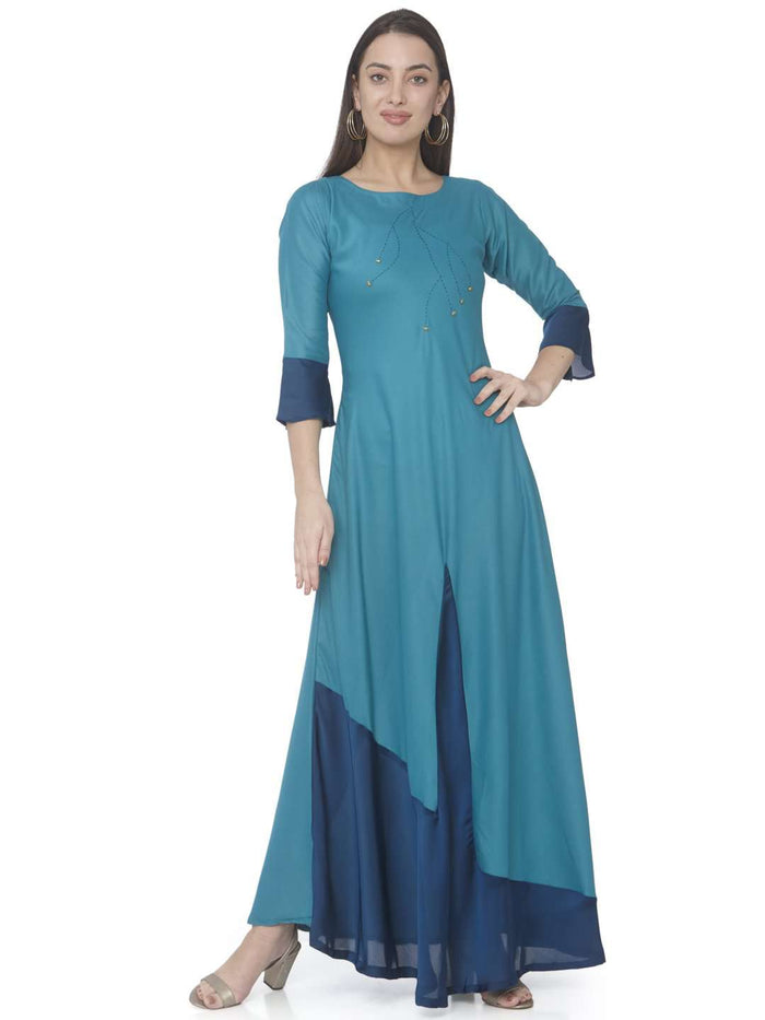 Front Side Sky Blue Solid Satin A-Line Maxi Dress