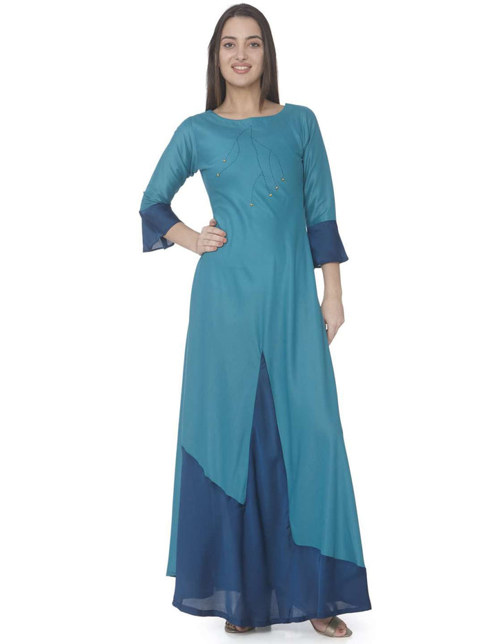 Casual Sky Blue Solid Satin A-Line Maxi Dress