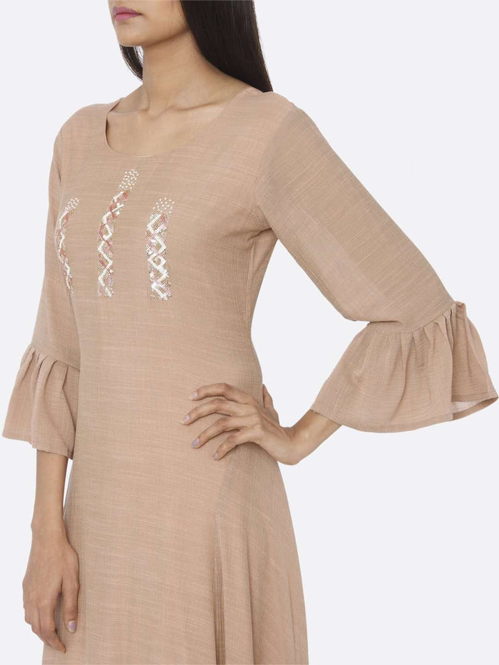 Left Side Embellished Chiffon A-Line Dress With Peach Color