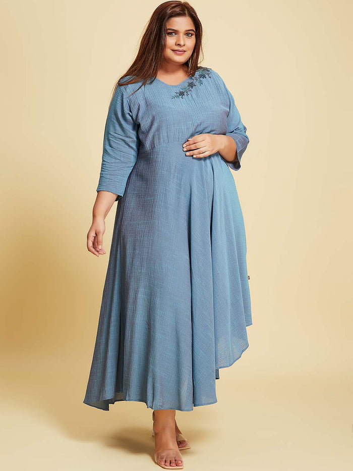 Blue Embellished  A-Line Maxi Dress Plus Size