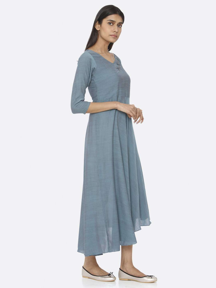 Right Side Blue Embellished A-Line Maxi Dress