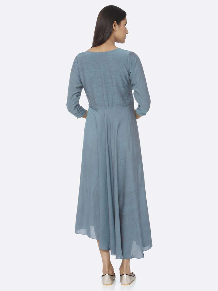 Back Side Blue Embellished A-Line Maxi Dress