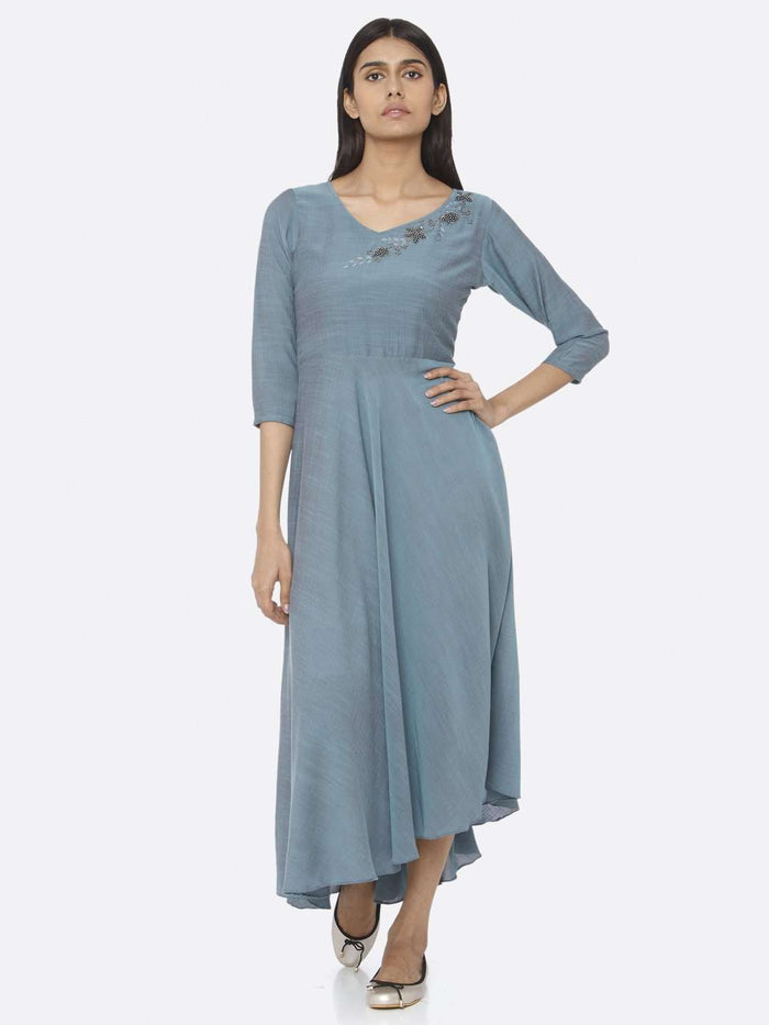 Front Side Embellished A-Line Maxi Dress With Blue Color