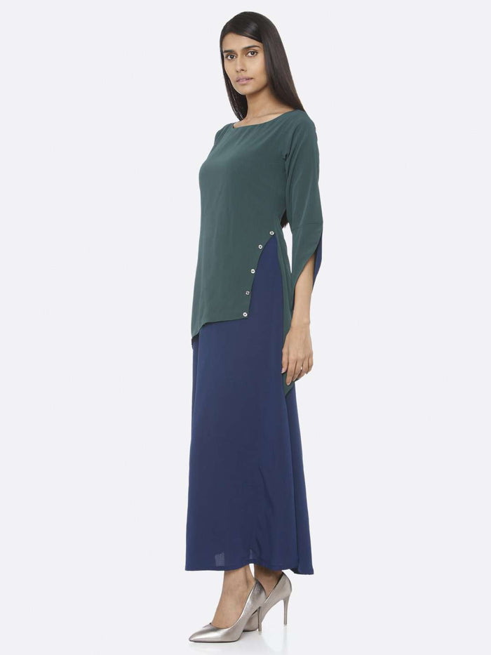 Left Side Green Solid Chiffon A-Line Maxi Dress