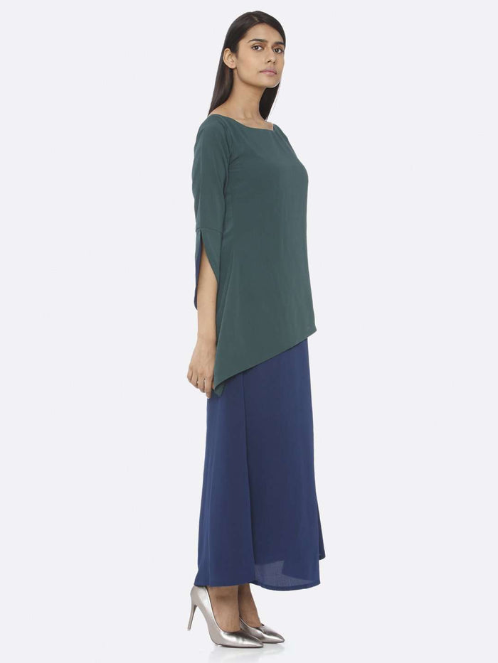Right Side Green Solid Chiffon A-Line Maxi Dress
