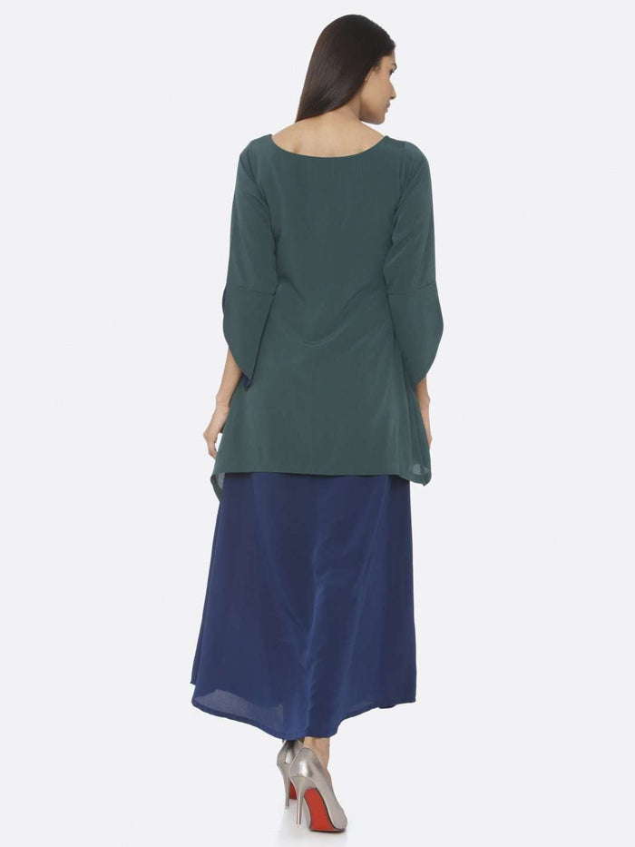 Back Side Green Solid Chiffon A-Line Maxi Dress
