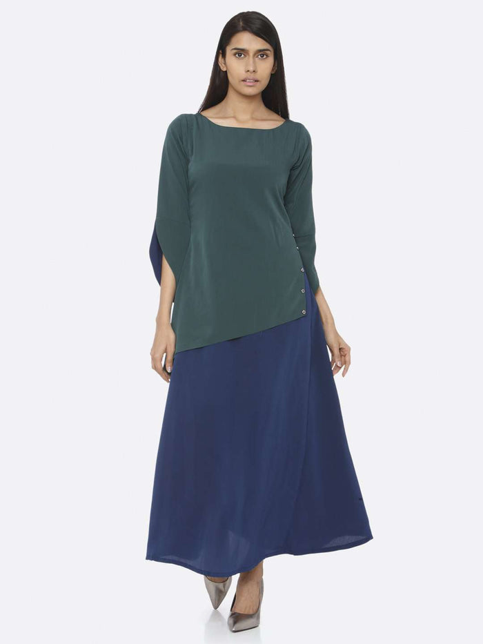 Front Side Green Solid Chiffon A-Line Maxi Dress