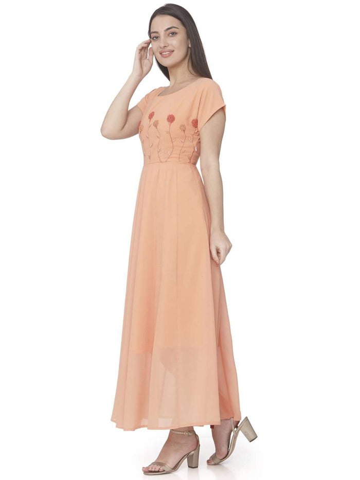 Left Side Orange Embroidered Georgette A-line Maxi Dress