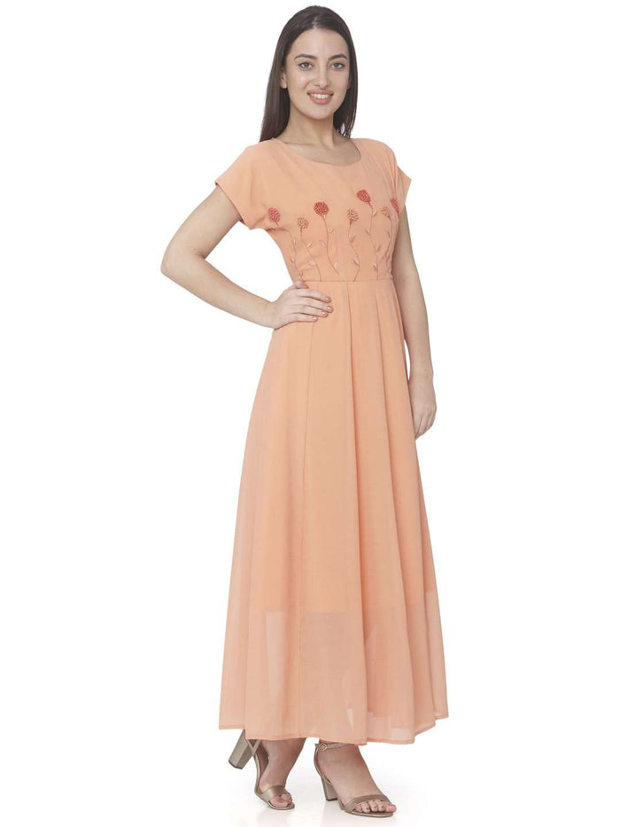 Orange Embroidered Georgette A-line Maxi Dress