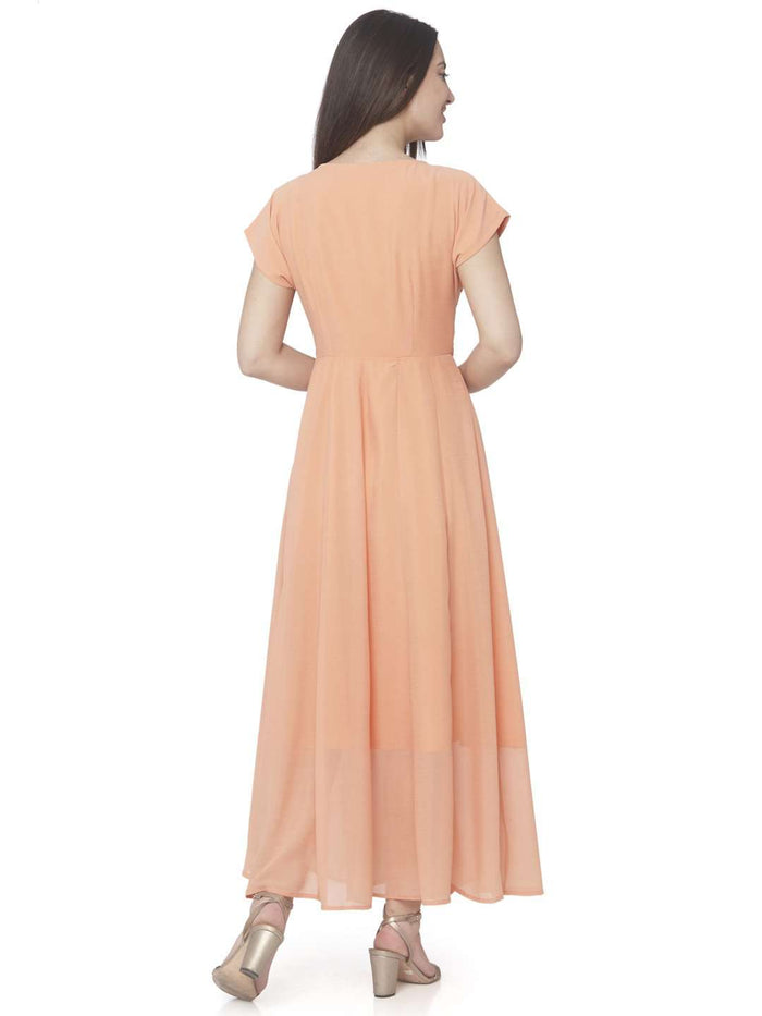 Back Side Orange Embroidered Georgette A-line Maxi Dress