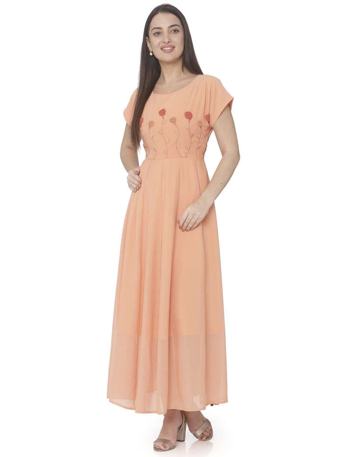 Casual Orange Embroidered Georgette A-line Maxi Dress
