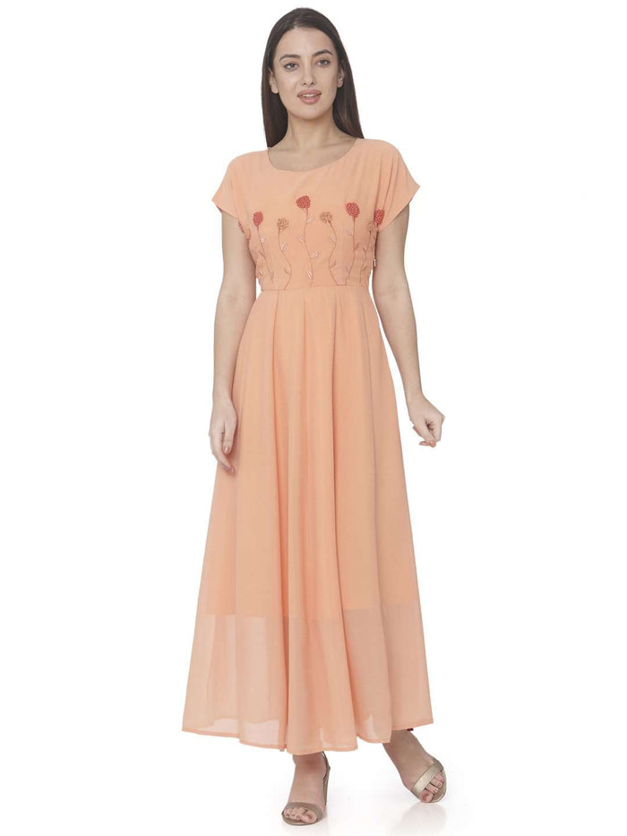 Front Side Orange Embroidered Georgette A-line Maxi Dress