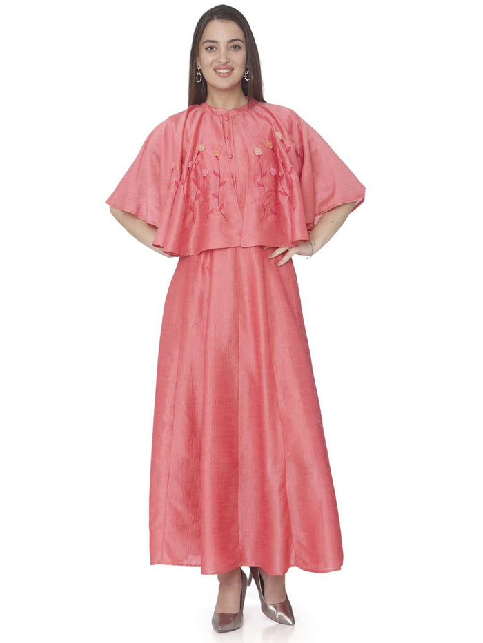Casual Pink Embroidered Satin Silk A-line Designer Dress