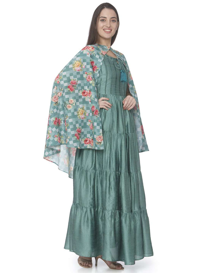 Right Side Green Printed Satin Silk A-line Designer Dress
