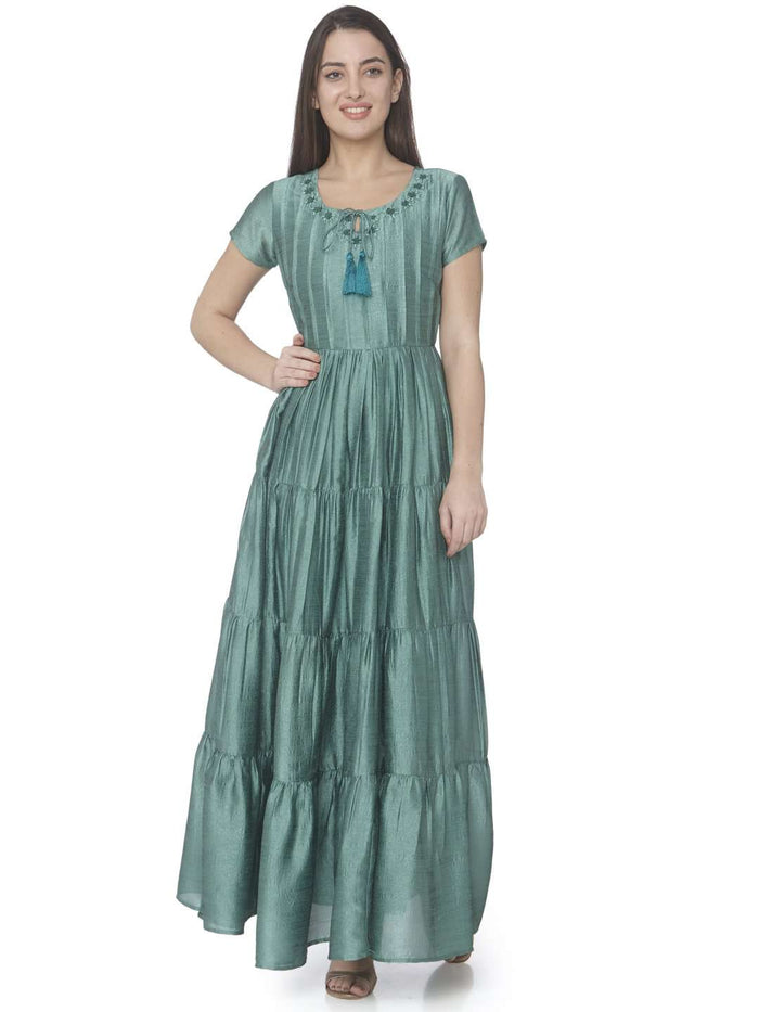 Casual Green Printed Satin Silk A-line Designer Dress