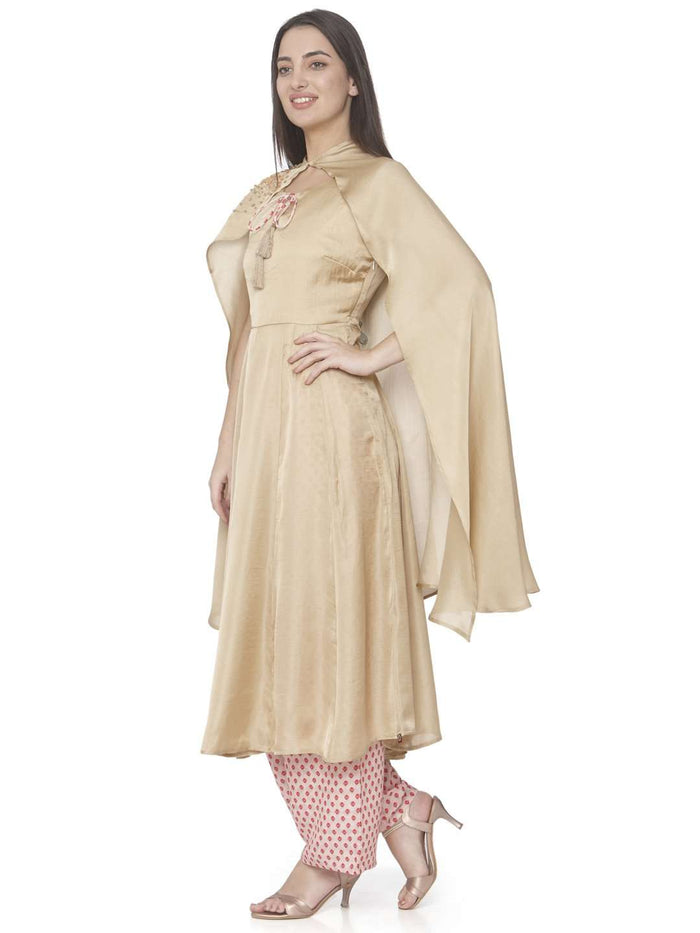 Left Side Cream Embroidered Muslin Silk A-line Designer Dress